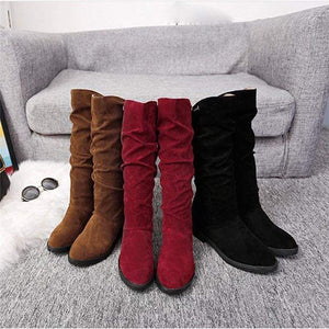Women Boots Female Winter Shoes Woman Fur Warm Snow Slip On Mid-Calf Casual 40B Leather Brown