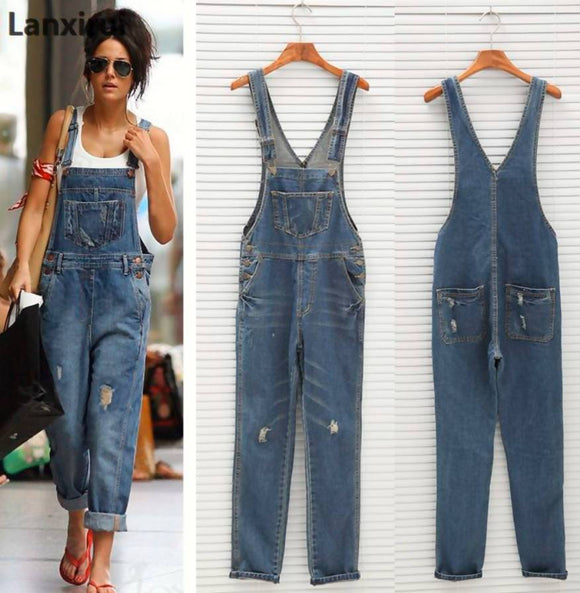 Women Denim Jumpsuit Ladies Spring Loose Jeans Rompers Female Casual Plus Size Overall Playsuit With Pocket