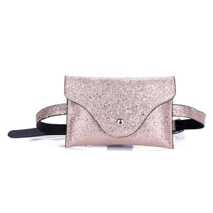 Women Fanny Pack Sequins Leather Waist Hasp Bag Female Money Belt Chest Functional Phone