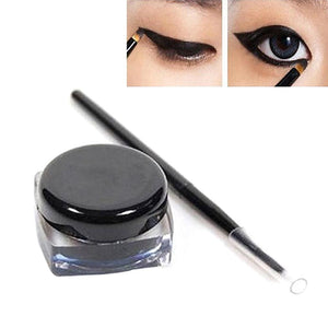 Women Girls Makeup Waterproof Long Lasting Eyeliner Eye Liner Pen And Brush Set Black (Black)