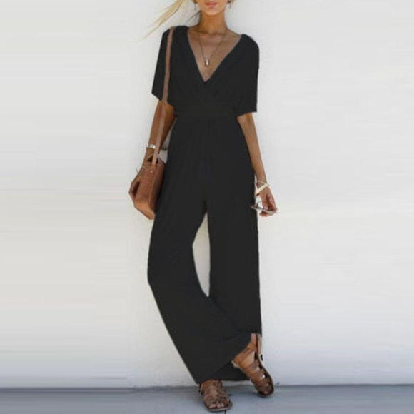 Women Jumpsuit Romper Short Sleeve V Neck Casual Playsuit Overalls Ladies Wide Leg Loose White Black Pink