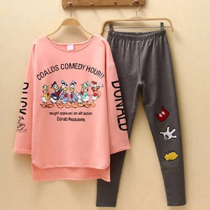 Women Pajamas Sets autumn Long Sleeve Cartoon Print Cute Sleepwear