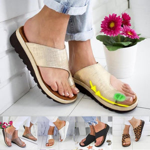 Women Pu Leather Sandals Comfy Platform Shoes Sole Ladies Casual Soft Big Toe Foot Correct Orthopedic Bunion Corrector