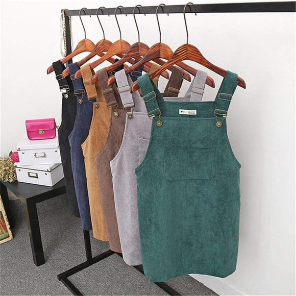 Women Retro Corduroy Dress Autumn Spring Suspender Sundress Sarafan Loose Vest Overall Female Natural Casual Dresses