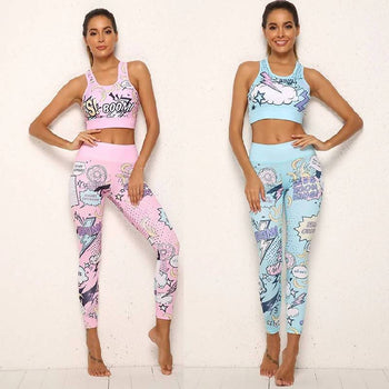 Women Tracksuit Cartoon Yoga Set Running Fitness Jogging T-Shirt Leggings