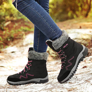 Women Winter Snow Boots High Top Sneakers Short Plush Shoes Warm Mid-Calf Boots Suede Leather Botine Botas Mujer 2019