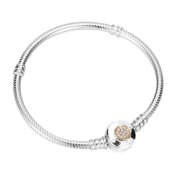 Women's Authentic 925 Sterling Silver Pandora Bracelet Moments Two-Tone Signature Snake Chain & Bangle Fit Bead Charm Jewelry 16cm
