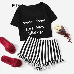 Womens Black Graphic Tee Frilled Striped Shorts Pajama Set Sleepwear