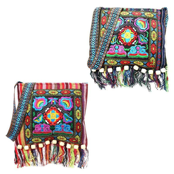 Women's Embroidery Hill Tribe Totes Messenger Tassels Bag Boho Hippie Style 1