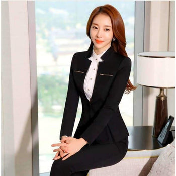 Womens Formal Suits Workwear Office Uniform Designs Women Blazers Spa Elegant Business Pant