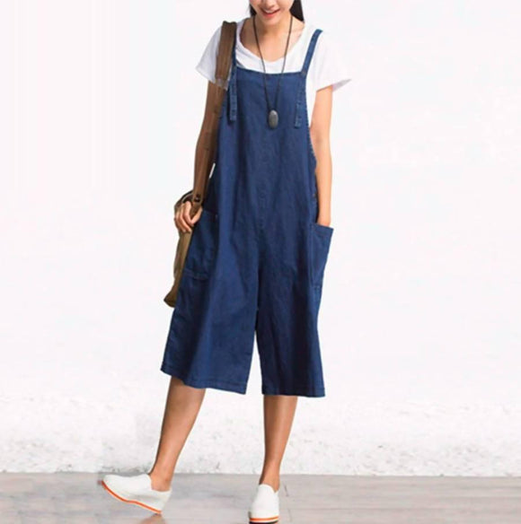 Womens Jumpsuits Zanzea Wide Leg Overalls Denim Blue Dungarees Rompers Sleeveless Adjustable Strap Button Summer Pants 5Xl