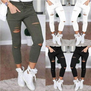 Women's Ladies Ripped Skinny Denim Jeans Cut High Waisted Jegging Trousers Waist Stretch Slim Pencil Pants Black