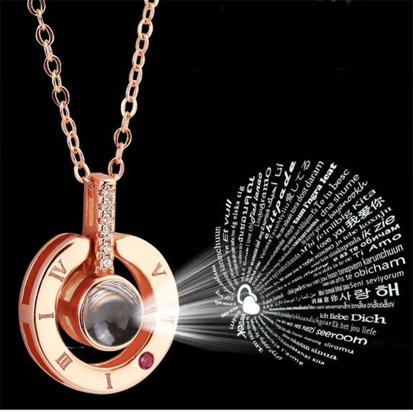 Women's Rose Gold & Silver 100 Languages I Love You Projection Pendant Necklace Romantic Memory Wedding gold