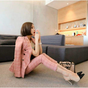 Women's Suit Jacket And Pants Two Pieces Formal Shrug Shoulder Oblique Button Blazer Suits Slim Ol