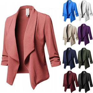 Womens Three-Quarter Sleeve Office Lapel Coat Open Front Cardigan Jacket Solid Plus Size Ladies Collar Suit