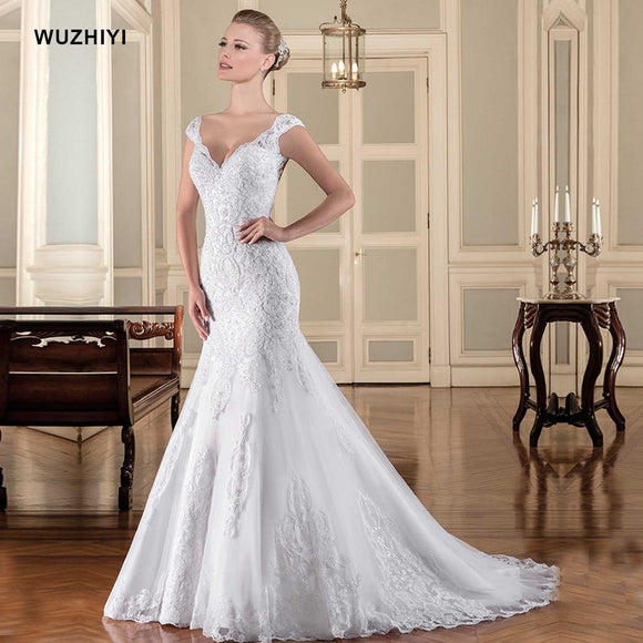 Wu Zhiyi Wedding Robe De Mariage Cap Sleeves Appliques Lace Dress Vestido Noiva Sleeveless Mermaid Gowns Ivory 10