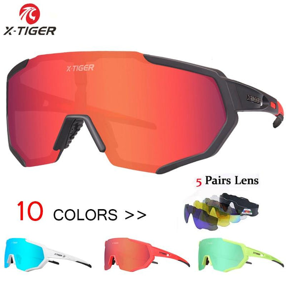 X Tiger Polarized 5 Lens Cycling Glasses Road Bike Eyewear Sunglasses Mtb Mountain Bicycle Goggles