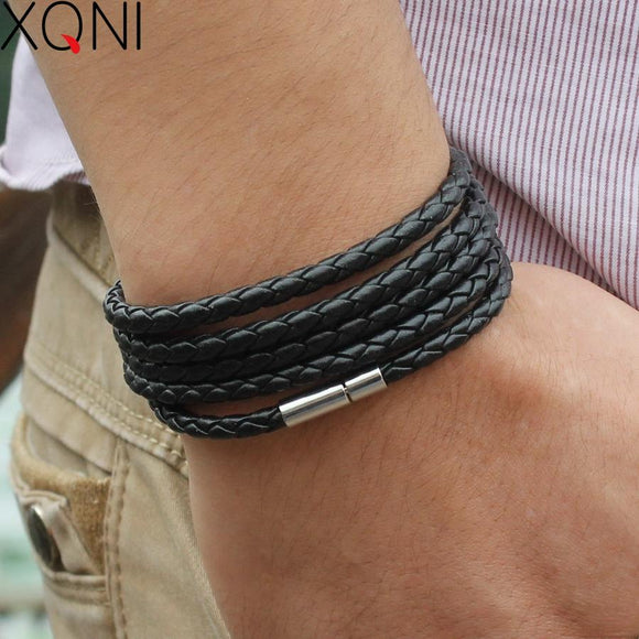 Xqno Black Retro Wrap Long Leather Bracelet Men Bangles Sporty Chain Link Male Charm With 5 Laps