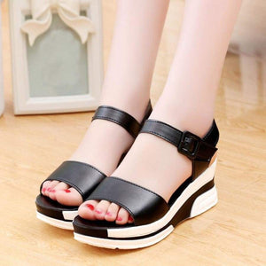Youyedian Women Sandals Peep Toe Buckle Strap Ladies Summer Shoes Size 35-40