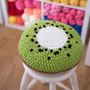 crochet kiwi cushion
