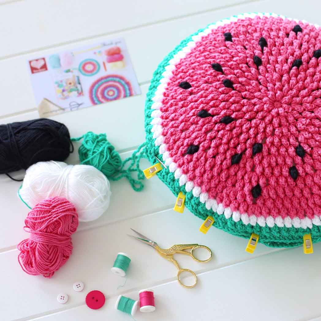 melon pop crochet cushion