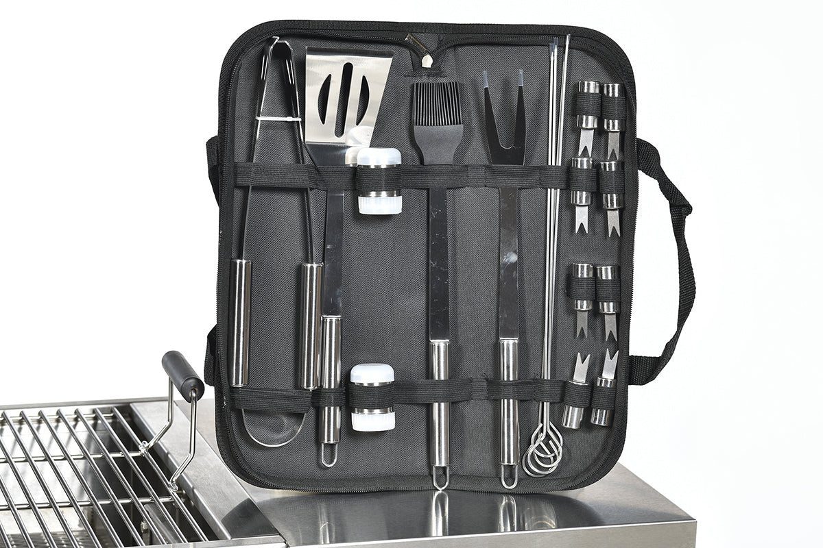 BBQ Grill Tools Set with 18 Barbecue Accessories - Stainless Steel Utensils with bag