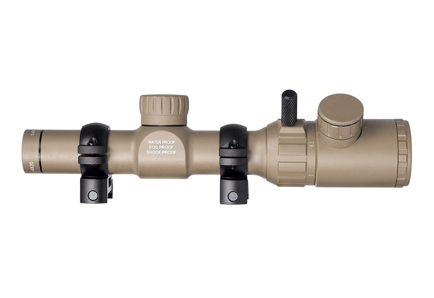 Monstrum 1-4x20 Rifle Scope with Rangefinder Reticle w/ High Profile Scope  Rings Flat Dark Earth Scope NEW LOOK! Factory Warranty! IN the Original