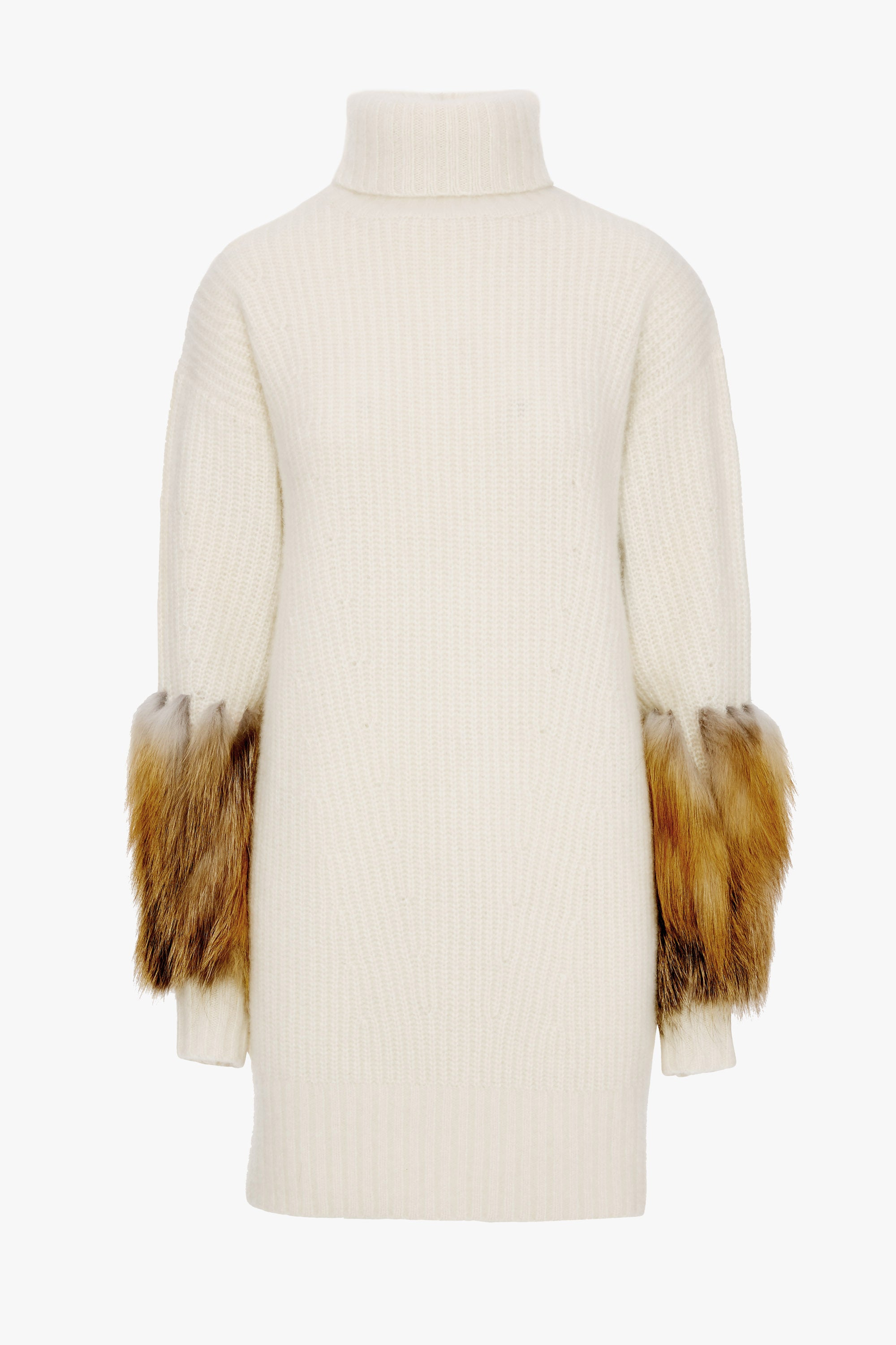 TURTLENECK DRESS WITH FOX FUR