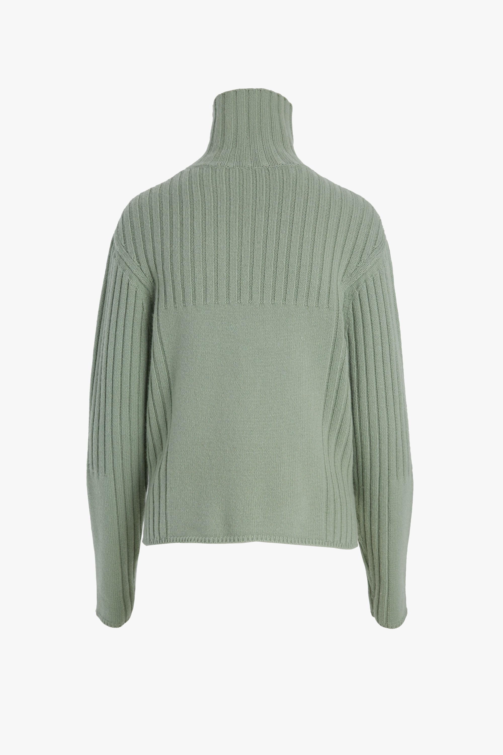 WOOL CASHMERE RIB MIX TURTLENECK