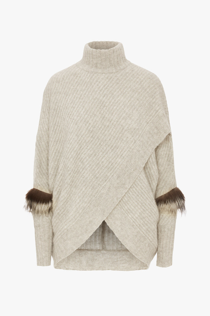 WRAP FRONT SWEATER WITH FOX FUR
