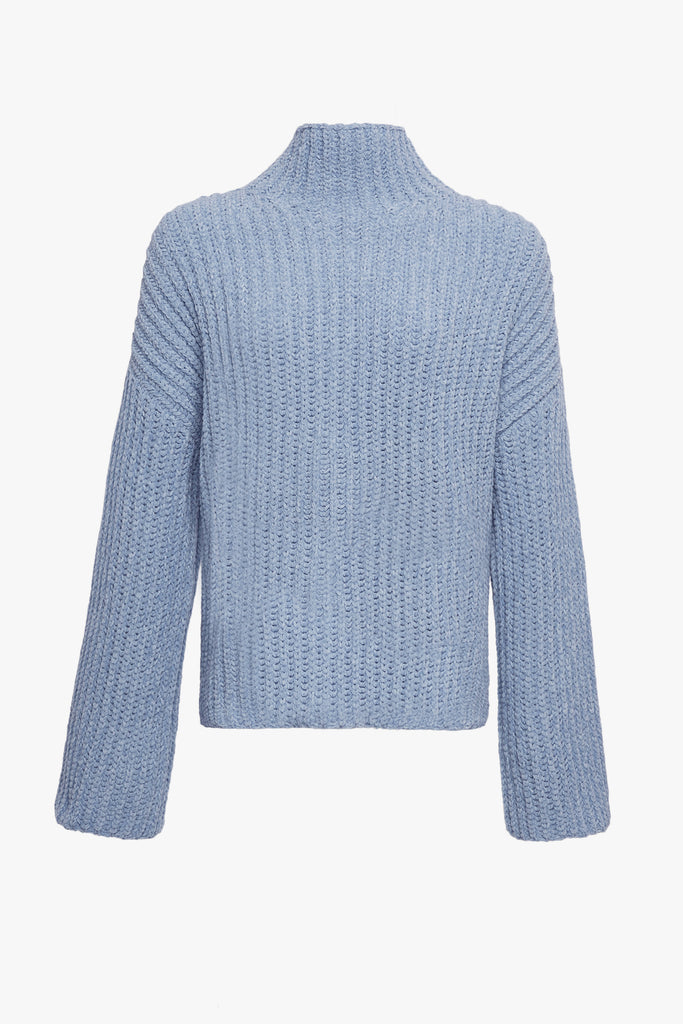 SILK CASHMERE CORD OVERSIZED MOCK NECK SWEATER