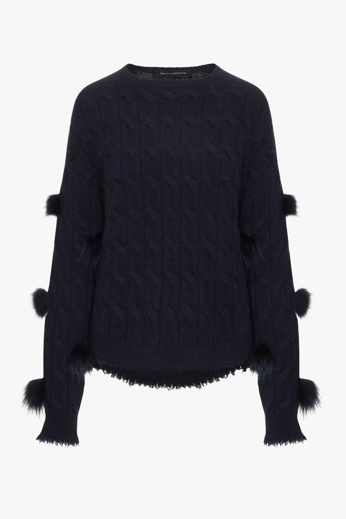 CASHMERE CABLE SWEATER WITH FUR