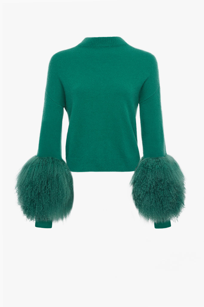 CASHMERE SILK SWEATER WITH SHEARLING