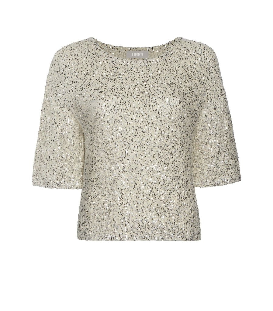 Product 4980377780310, CASHMERE SEQUIN TEE - LAPOINTE
