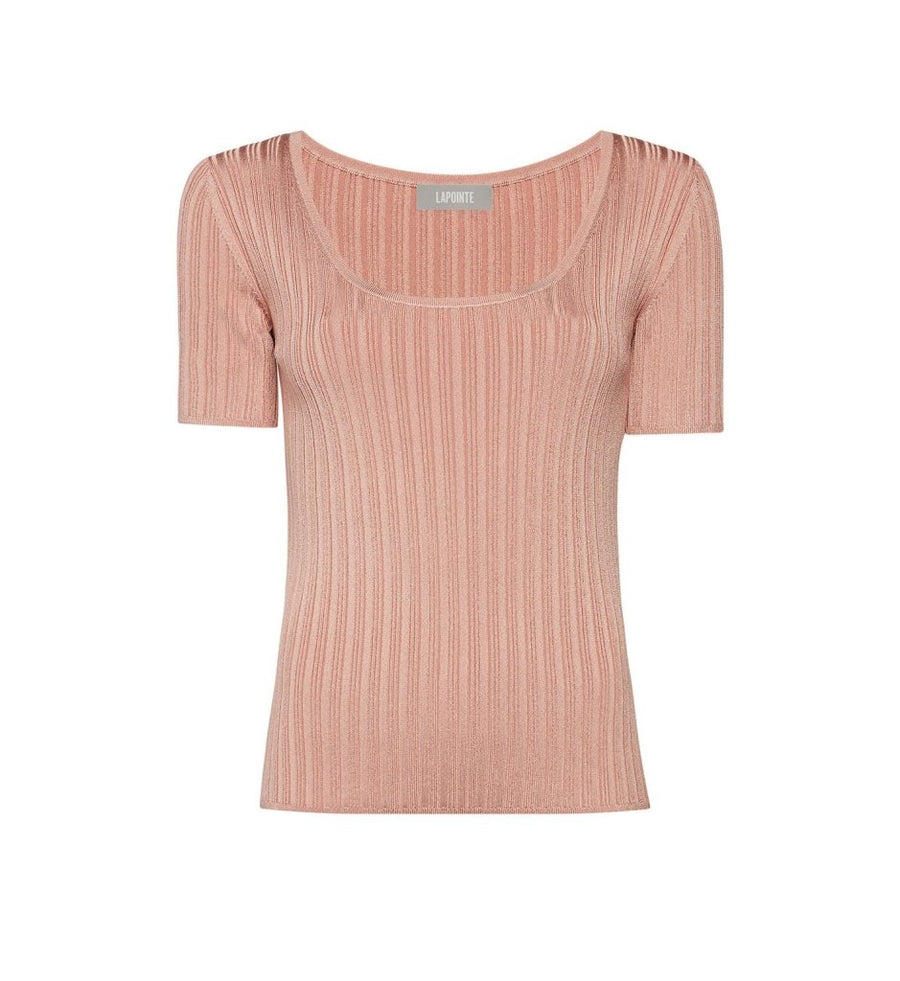 Product 4980375126102, RIBBED KNIT SCOOP NECK TEE - LAPOINTE