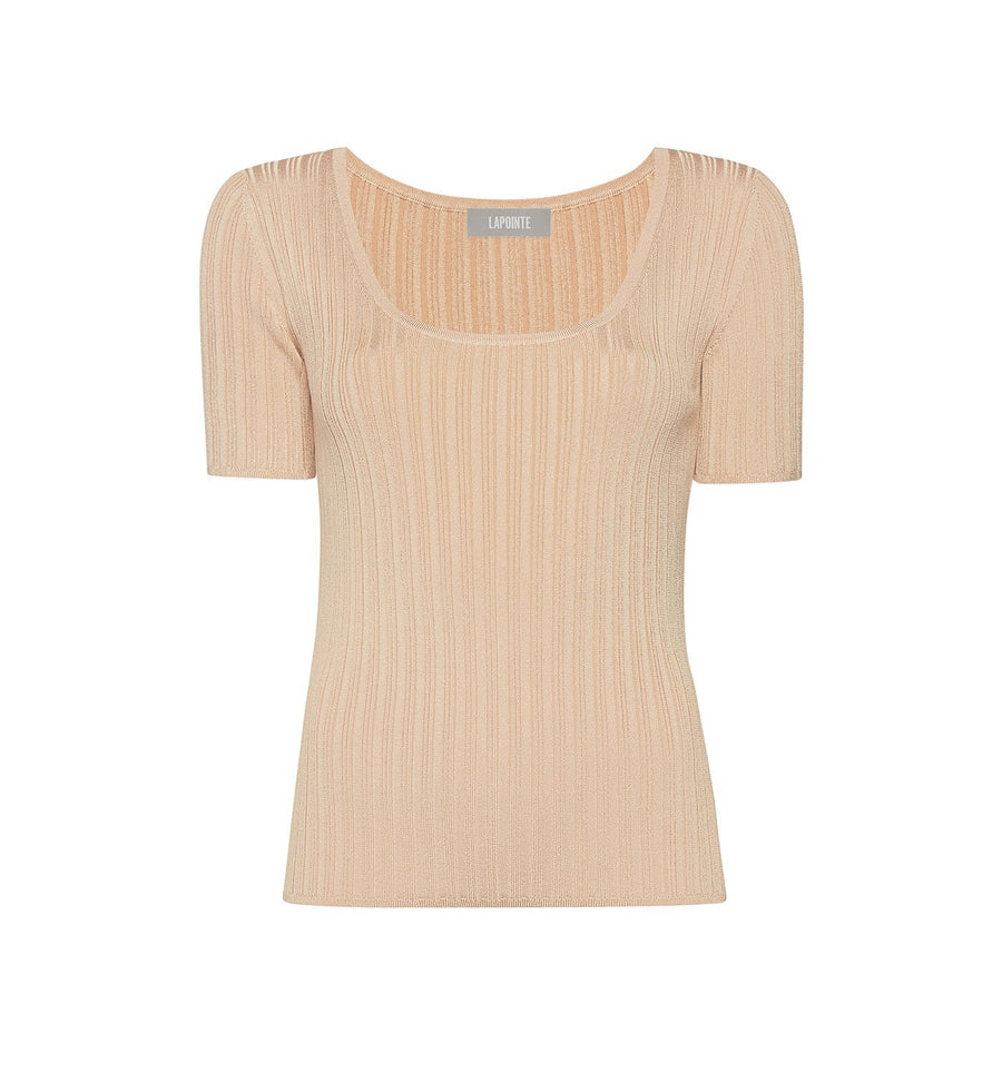 Product 6538290790486, RIBBED KNIT SCOOP NECK TEE - LAPOINTE