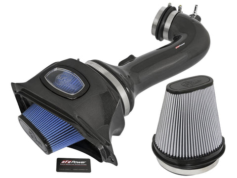 aFe® 52-74202-C - Black Series Momentum™ Aluminum Black Carbon Fiber Cold Air Intake System with Pro 5R and Pro Dry S Gray Filter