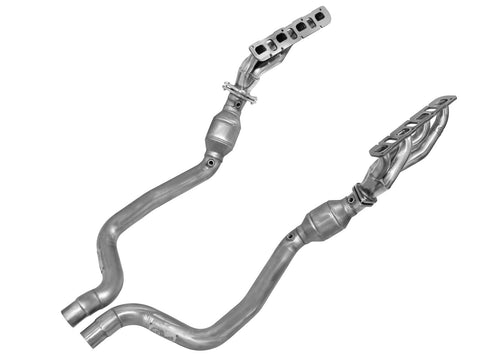 aFe® 48-42002-YC - Twisted Steel™ 409 SS Mid-Length Tube Exhaust Headers with Catted Y-Pipe
