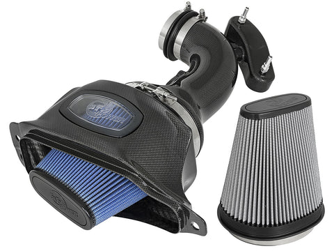 aFe® 52-74201-C - Black Series Momentum™ Aluminum Black Carbon Fiber Cold Air Intake System with Pro 5R and Pro Dry S Gray Filter