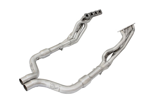 aFe® 48-32007-YC - Twisted Steel™ Stainless Steel Long Tube Exhaust Headers with Catted Connection Pipes