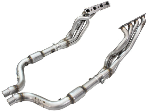 aFe® 48-32011-YC Twisted Steel™ Stainless Steel Long Tube Exhaust Headers with Catted Connection Pipes