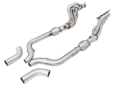 aFe® 48-33012-YC Twisted Steel™ Stainless Steel Long Tube Exhaust Headers with Catted Connection Pipes