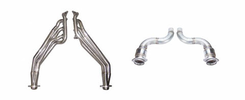 Pypes® HDR78SK-1  304 SS Natural Long Tube Exhaust Headers with Catalytic Converters and Mid Pipe