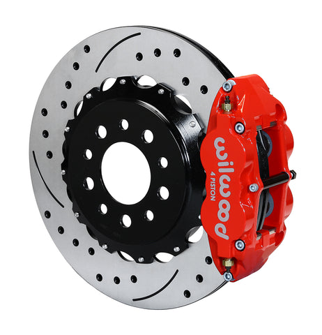 Wilwood® 140-13648-DR - Street Performance Drilled and Slotted Rotor Forged Narrow Superlite Caliper Rear Brake Kit for OE Parking Brakes