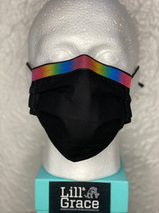 Black with Reflective Rainbow Stripe