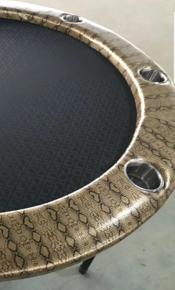 "58"" Luxury Round Poker Table Gold Croc"