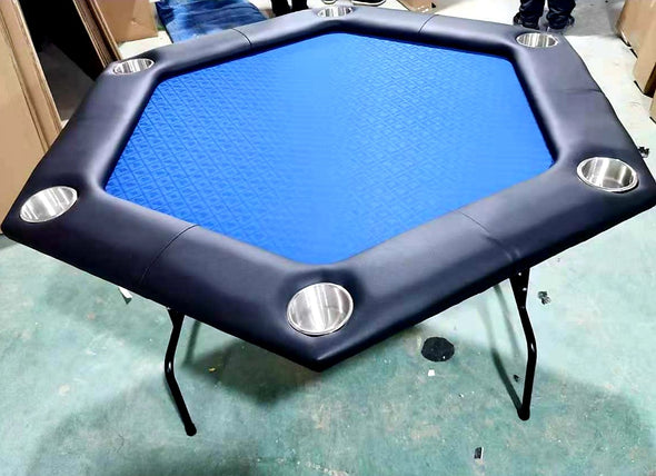 Hexagonal Poker Table - Blue Suited Speed Felt