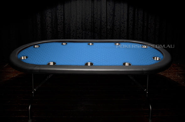 "84"" Pro Series Suited Blue Poker Table - Stainless Steel"