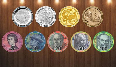 Ceramic Australian Currency poker chips