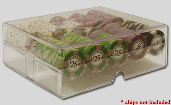 200pc Acrylic chip case rack tray with lid